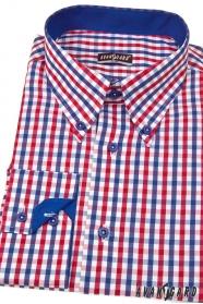 Pánská košile SLIM kostkovaná modrá s červenou