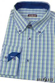Pánská košile SLIM modrozelená kostka