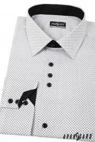 Bílá pánská košile SLIM s černými doplňky - dlouhý rukáv