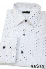 Bílá pánská košile SLIM s modrým puntíkem dlouhý rukáv