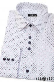 Bílá košile SLIM s modro-červenými puntíky, dlouhý rukáv
