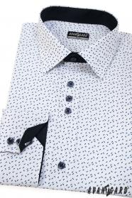 Proštíhlená košile s dlouhým rukávem, bílá s modrými čárkami