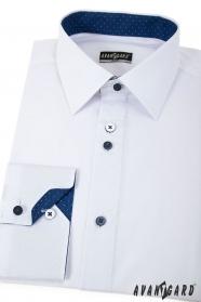 Bílá slim košile s modrými doplňky dlouhý rukáv