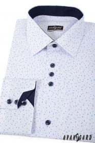 Bílá slim košile s modrým vzorem dlouhý rukáv
