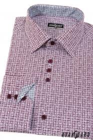Vzorovaná slim košile bordó dlouhý rukáv