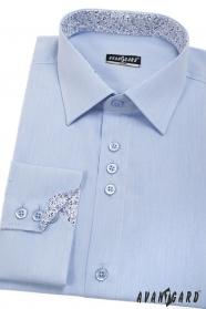 Modrá pánská košile slim s vnitřním vzorem, dlouhý rukáv