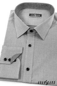 Pánská košile SLIM zevnitř kostkovaná šedá
