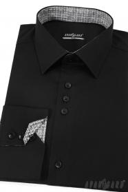 Černá pánské slim košile dlouhý rukáv