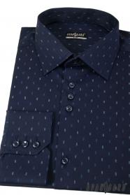 Tmavě modrá slim košile s čárkami dlouhý rukáv