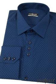 Modrá pánská slim košile s jemnými tečkami dlouhý rukáv