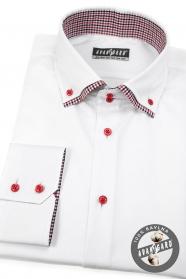 Bílá košile SLIM dlouhý rukáv, červené knoflíky