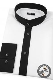 Bílá pánská košile Slim se stojáčkem a černým límcem