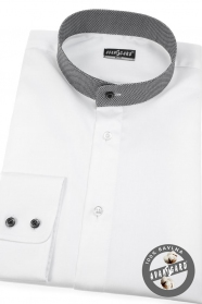 Bílá pánská košile Slim se stojáčkem a károvaným límcem