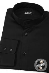 Pánská košile se stojáčkem SLIM černá
