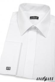 Pánská košile SLIM krytá léga Bílá hladká