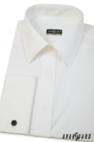 Pánská košile Slim smetanové barvy s francouzskou manžetou