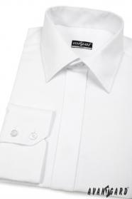 Bílá pánská košile SLIM s elegantní krytou légou