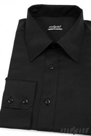 Pánská košile SLIM černá hladká bavlna