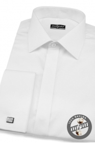 Pánská košile SLIM bílá hladká s leskem