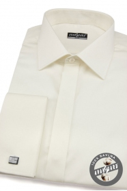 Pánská košile SLIM krytá léga krémová s leskem