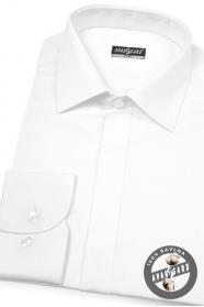 Pánská luxusní košile SLIM krytá léga Bílá hladká