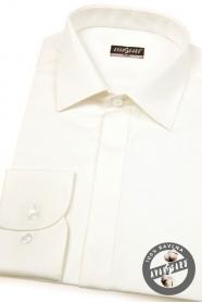 Pánská košile SLIM smetanová hladká s leskem