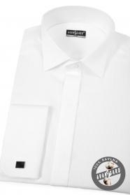 Bílá piké smokingová slim košile s dvojitou manžetou