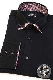Černá pánská košile REGULAR dlouhý rukáv
