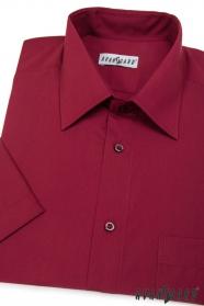 Pánská košile KLASIK krátký rukáv Bordó