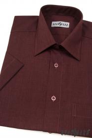 Pánská košile KLASIK krátký rukáv Bordo melír