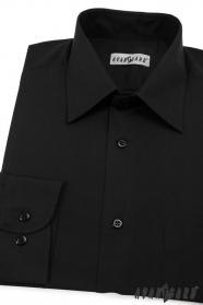 Pánská košile KLASIK dlouhý rukáv V23-Černá