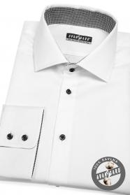 Bílá pánská košile klasického střihu s černými knoflíky