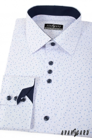 Bílá košile s modrým vzorem dlouhý rukáv