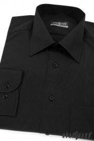 Pánská košile černá s jemným bílým proužkem
