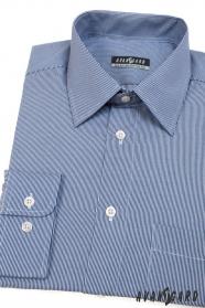 Modrá pánská košile s úzkým bílým proužkem