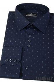 Tmavě modrá košile s čárkami dlouhý rukáv