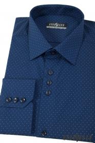 Modrá puntíkovaná pánská košile s dlouhým rukávem