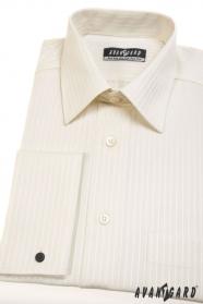 Košile na manžetové knoflíčky smetanová s proužkem