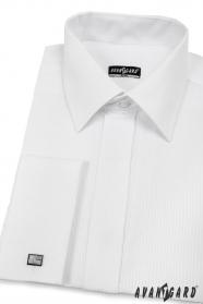 Pánská košile SLIM bílá s lesklým proužkem