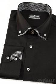 Pánská košile  dlouhý rukáv Černá