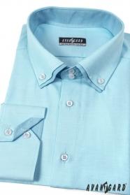 Pánská košile tyrkysová dvojitý límec