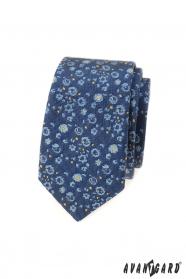Slim kravata s modro-žlutým vzorem