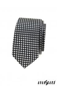 Černo-šedá kostkovaná slim kravata