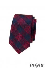 Modro-červená károvaná slim kravata