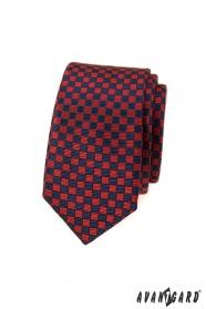 Červeno-modrá kostkovaná slim kravata