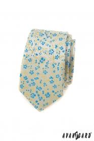 Úzká kravata s modro-žlutým vzorem