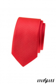 Červená strukturovaná slim kravata Avantgard