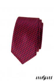 Úzká kravata červeno-modré obdélníky
