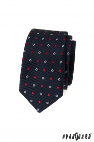 Modrá slim kravata s bílo-modrým vzorem