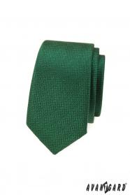 Zelená slim kravata se strukturou povrchu